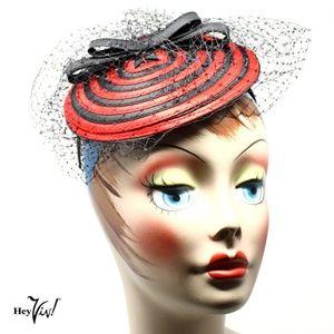 Fascinator Hat - Red & Black Swirl w Veil - Retro